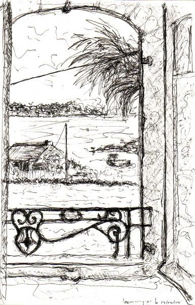 drawing of the view from the bedroom of the house of pen-er-houet; view of the Gulf of Morbihan